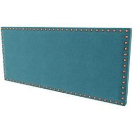 cabecero de cama azul turquesa con tachuelas tipo chincheta antigua