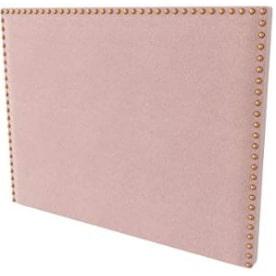 cabecera de cama rosa palo tapizada y con tachuelas