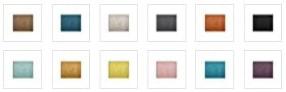 Seleccion de colores de cabeceros de cama disponivles en venta: marrón claro, azul oscuro, gris claro, brillantes, color naranja, amarillo, rosa clarito, azul cielo, azul turquesa, lila, morado...
